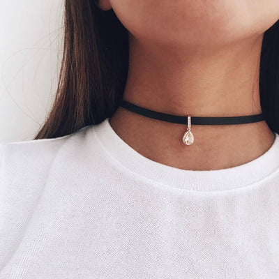 Cute Leather Crystal Drop Pendant Choker Fashion Jewelry for Women Black Velvet Necklace - collar de gargantilla negro gota cristal - www.MyBodiArt.com #necklace
