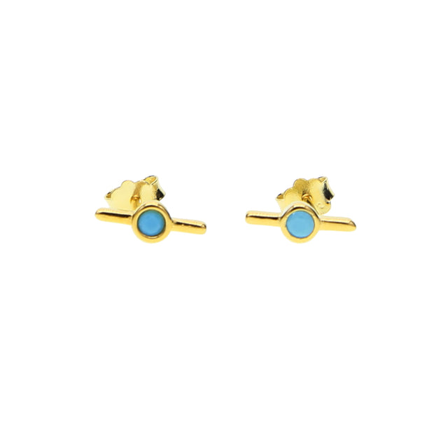 Modern Artsy Ear Piercing Ideas Boho Turquoise Bar Earring Stud for Cartilage Helix Lobe Conch Jewelry -  ideas modernas de perforación del oído para las mujeres - www.MyBodiArt.com #earrings