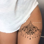 Popular Chandelier Lotus Mandala Thigh Tattoo Ideas for Women - Trending Boho Tribal Black Henna Leg Tat -   loto muslo tatuaje ideas para mujeres - www.MyBodiArt.com