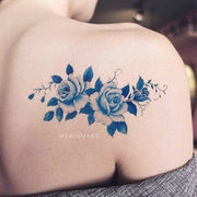 Vintage Blue Watercolor Floral Flower Shoulder Tattoo Ideas for Women -  Ideas de tatuaje de acuarela flor azul hombro - www.MyBodiArt.com