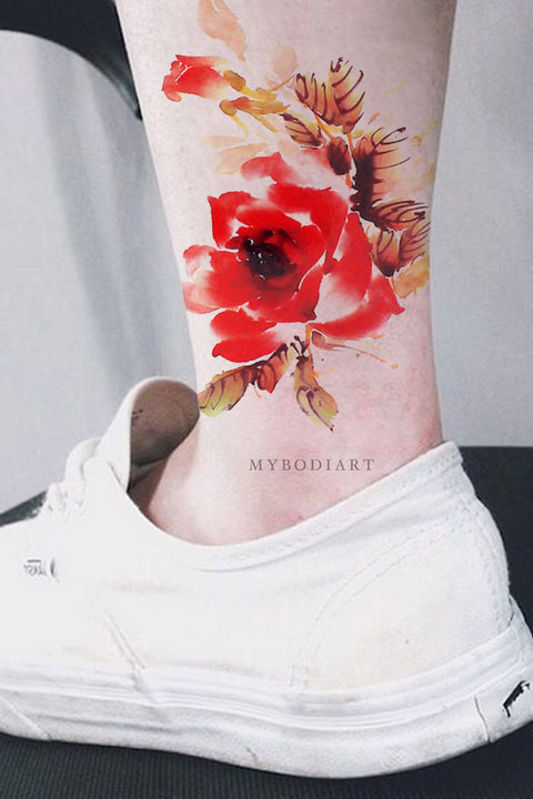 Popular Watercolor Floral Flower Ankle Temporary Tattoo Ideas for Women -  Acuarela flores tobillo tatuaje ideas - www.MyBodiArt.com