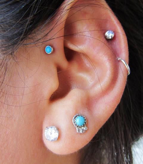 Simple Ear Piercing Ideas with Turquoise Stone Cartilage Piercing, Tragus Earring, Helix Stud in Silver - Internally Threaded - Ear Piercing Jewelry at MyBodiArt.com