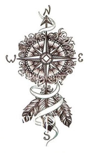 ribal Boho Dreamcatcher Arrow Compass Temporary Tattoo Design Ideas for Women - www.MyBodiArt.com