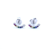 Cute Multiple Ear Piercing Ideas for Teens Feminine Rainbow Earring Studs with Colorful Crystals  - lindo arco iris piercing oreja ideas para mujeres - www.MyBodiArt.com