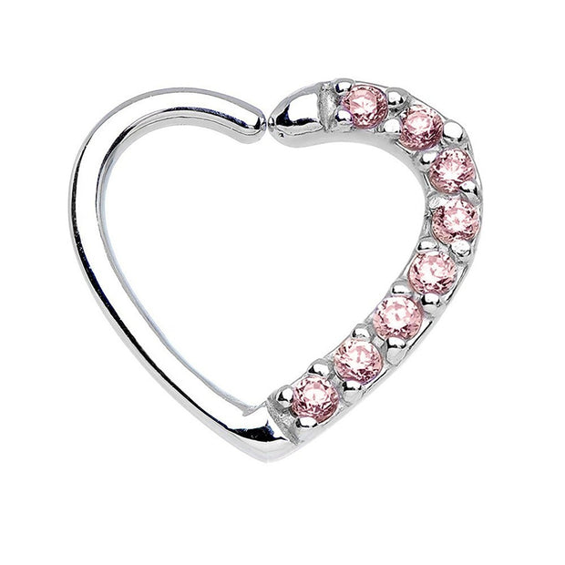 Amore Crystal Heart Daith & Rook Ear Piercing Cartilage Helix Earring - Pink