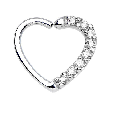 Amore Crystal Heart Daith & Rook Ear Piercing Cartilage Helix Earring - Clear