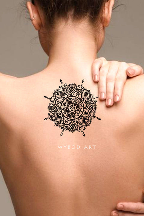 87d4e3014 Cool Mandala Back Spine Tattoo Ideas for Women Tribal Boho Black Henna Lotus  Tat - Ideas