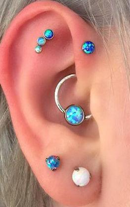 Multiple Blue Opal Ear Piercing Jewerly for Rook, Forward Helix, Cartilage Earrings