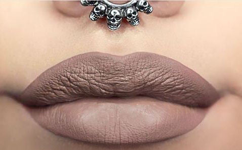 Silver Septum Ring with Nude Lips Makeup at MyBodiArt.com