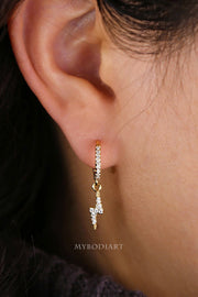 Cute Simple Classy Lightning Bolt Earring Huggie Hoop Crystal Ear Piercing Jewelry Ideas for Women in Gold - www.MyBodiArt.com