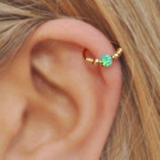 Cute Green Opal Cartilage Gold Hoop Ear Piercing Earring Ring 16G - ideas de piercing de oreja para las mujeres - www.MyBodiArt.com