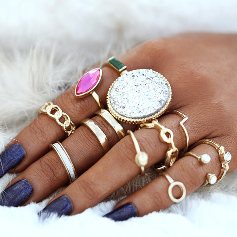 Fancy Chunky Crystal Ring Set in Gold Fashion Statement Jewelry - anillos gruesos de moda de cristal para mujeres - www.MyBodiArt.com #rings