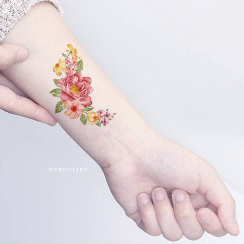 Beautiful Vintage Floral Flower Wrist Tattoo Ideas for Women - www.MyBodiArt.com