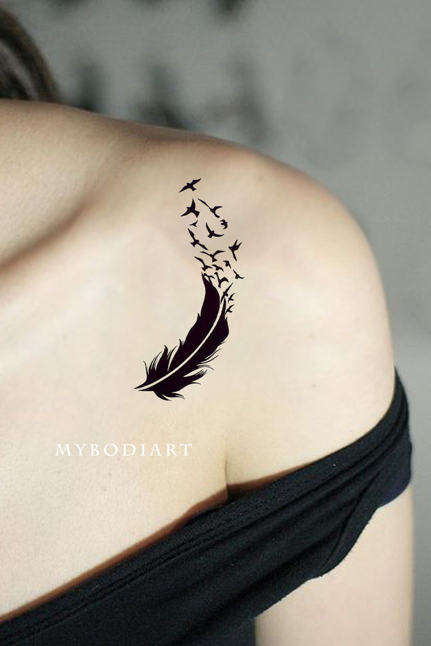 Small Feather Sparrow Bird Silhouette Shoulder Tattoo Ideas for Women - www.MyBodiArt.com