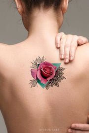 Beautiful Watercolor Rose Mandala Back Tattoo Ideas for Womenn - www.MyBodiArt.com