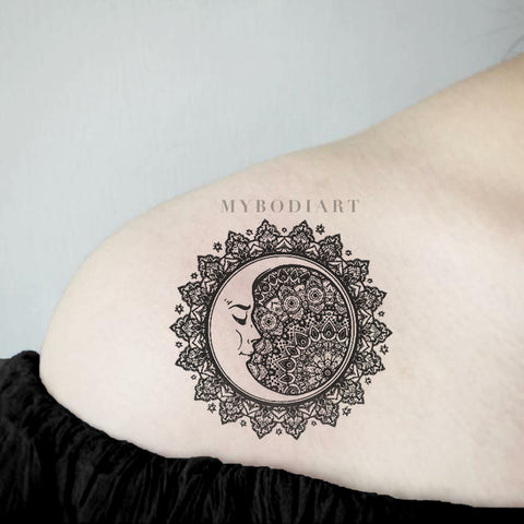 Cool Black Tribal Mandala Shoulder Tattoo Ideas for Women - Sacred Geometric Moon Arm Tat for Teen Girls - www.MyBodiArt.com #tattoos