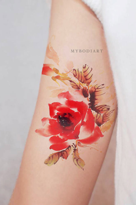 Pretty Watercolor Floral Flower Bicep Arm Tattoo Ideas for Women -  Ideas lindas del tatuaje del brazo de la flor para las mujeres - www.MyBodiArt.com