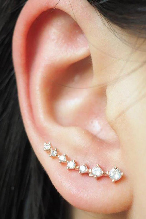 Cute Trendy Simple Diamond Ear Climber Earring in Silver for Teen Girls for Women -  arete de plata - www.MyBodiArt.com #earrings