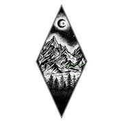 Cool Black Nature Tattoo Ideas for Women Diamond Mountain Tree Moon Tat  - Ideas de tatuajes para las mujeres  www.MyBodiArt.com