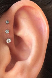 Triple Forward Helix Ear Piercing Ideas Crystal Earring Stud Jewelry 16G - www.MyBodiArt.com
