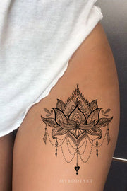 Black Tribal Boho Lotus Chandelier Thigh Leg Tattoo Ideas for Women - www.MyBodiArt.com #tattoos