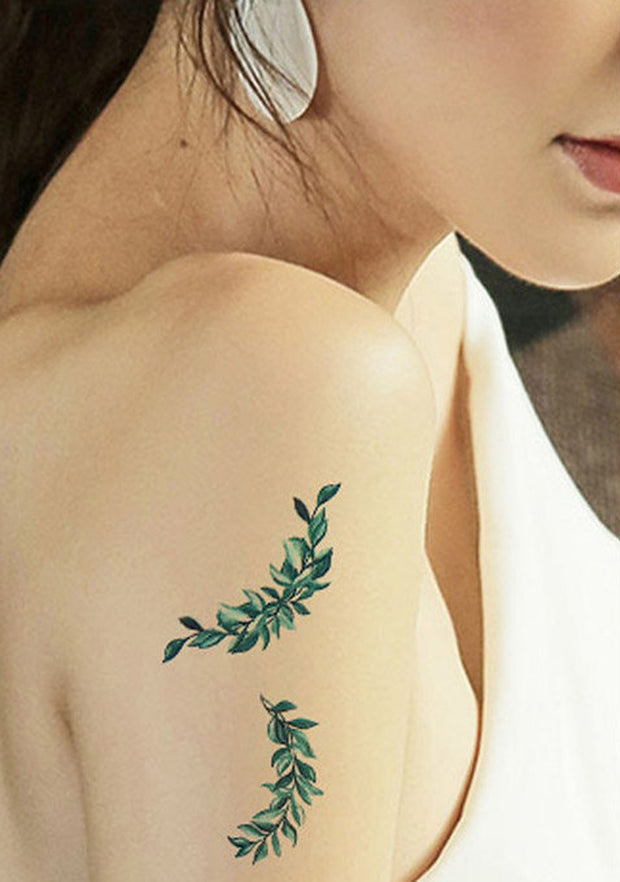 Small Watercolor Minimal Fern Leaf Arm Sleeve Tattoo Ideas - www.MyBodiArt.com #tattoos