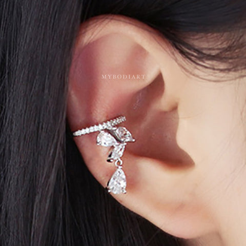 Cute Simple Minimalist Crystal Ear Cuff Earring Fashion Jewelry for Cartilage, Helix, Conch Piercing -  lindas ideas para perforar orejas - www.MyBodiArt.com