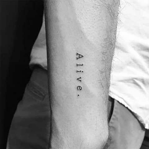 Cute Alive Quote Script Forearm Tattoo Ideas for Women - www.MyBodiArt.com #tattoos
