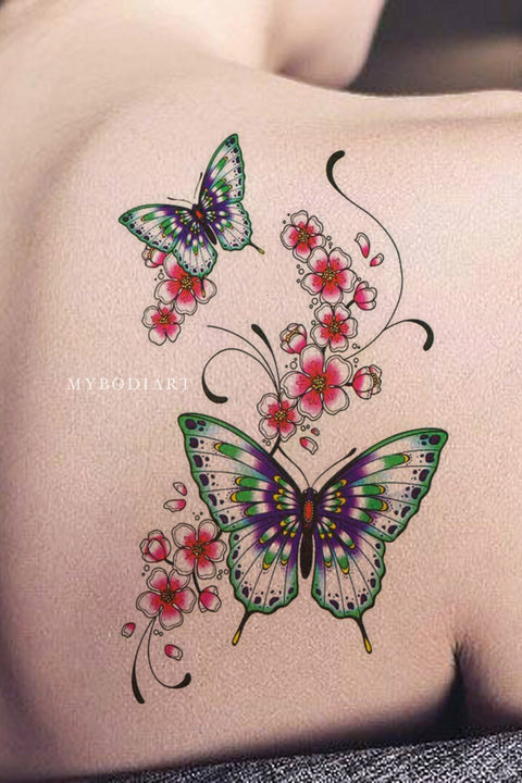 Cute Watercolor Butterfly Floral Flower Shoulder Temporary Tattoo Ideas for Women - butterfly shoulder tattoo ideas for women Edit  butterfly shoulder tattoo ideas for women  Mariposa hombro tatuaje ideas para mujeres - www.MyBodiArt.com
