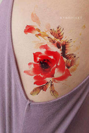 Cute Watercolor Floral Flower Rib Tattoo Ideas for Women -  Ideas lindas del tatuaje de la costilla para las mujeres - www.MyBodiArt.com