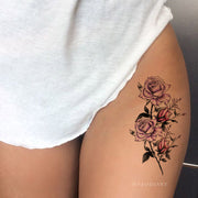 Beautiful Watercolor Floral Flower Thigh Leg Tattoo Ideas for Women -  Ideas de tatuaje de muslo de acuarela púrpura para mujeres - www.MyBodiArt.com