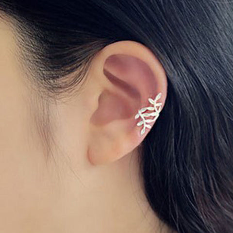 Cute Jewelry Earring - Ear Piercing Ideas - Conch Earring - Birchy Silver Leaves Ear Cuff at MyBodiArt.com
