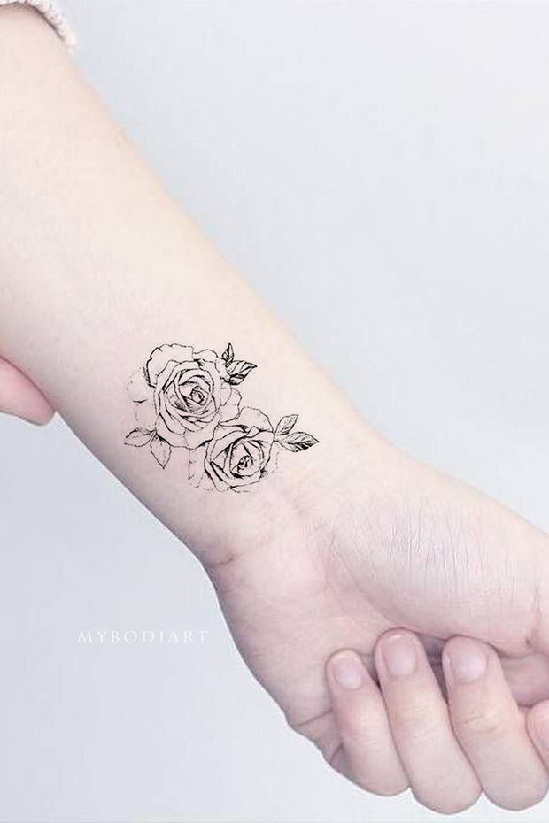 Tina Vintage Floral Flower Rose Outline Linework Temporary Tattoo