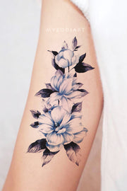 Cute Blue Watercolor Floral Flower Bicep Arm Temporary Tattoo Ideas for Women -  Hojas de tatuaje de brazo de flor azul acuarela - www.MyBodiArt.com