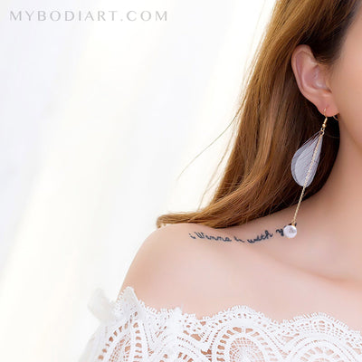 Cute Fancy Ear Piercing Ideas for Teen Girls - Long Butterfly Feather Pearl Chain Drop Dangle Earrings in Gold or Silver - ideas de piercing de oreja de lujo lindo para niñas adolescentes - www.MyBodiArt.com