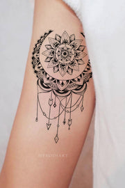 Boho Moon Arm Bicep Tattoo Tribal Mandala Chandelier Lace Lotus - Ideas de tatuajes de luna para mujeres -www.MyBodiArt.com #tattoos