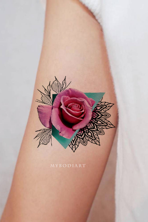 Cute Pink Watercolor Floral Flower Rose Arm Tattoo Ideas for Women - www.MyBodiArt.com