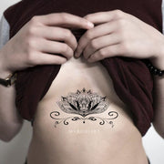 Popular Lotus Mandala Sternum Tattoo Ideas for Women - Trending Boho Tribal Black Henna Cleavage Tat -   Ideas de tatuajes de loto para mujeres - www.MyBodiArt.com