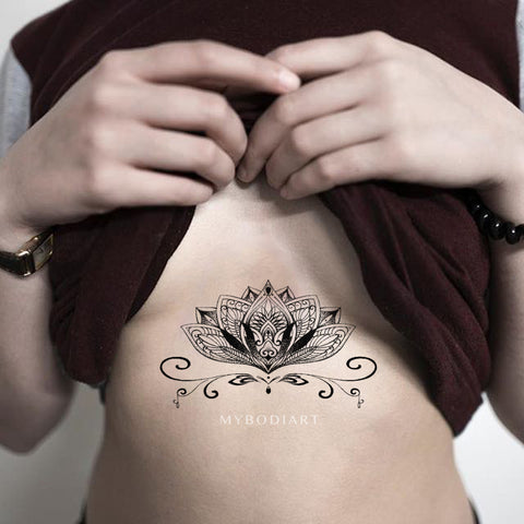 Tribal Lotus Sternum Temporary Tattoo Ideas for Women - www.MyBodiArt.com