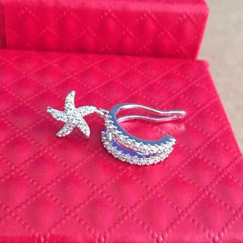 Starfish Cute Fake Ear Piercing Jewelry  - Tahlea Princess Crystal Ear Cuff Earring - Conch Piercing Jewelry - Star Cartilage Ring