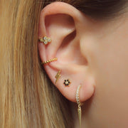 Edgy Gold Multiple Ear Piercing Jewelry Ideas for Women - www.MyBodiArt.com