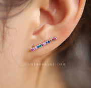 Cute Multiple Ear Piercing Ideas for Teens Feminine Rainbow Ear Climber Earring with Colorful Crystals  - lindo arco iris piercing oreja ideas para mujeres - www.MyBodiArt.com