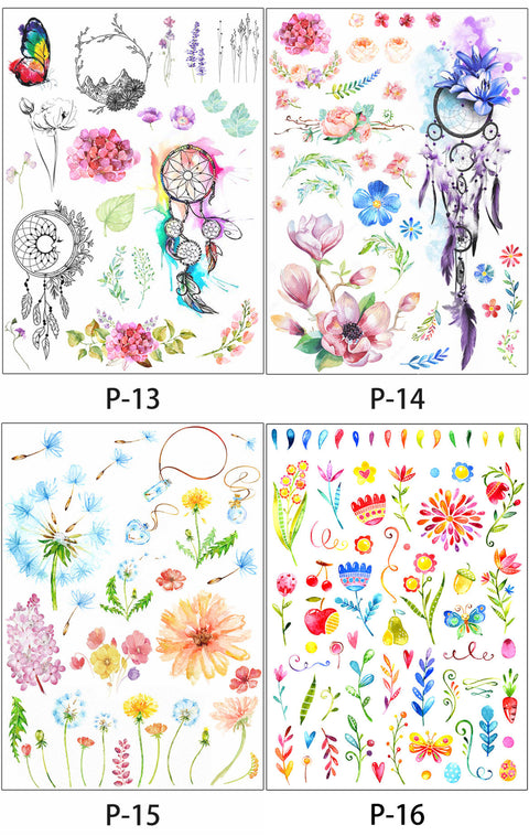 Small Delicate Colorful Watercolor Floral Flower Dandelion Dreamcatcher Butterfly Temporary Tattoo Ideas - www.MyBodiArt.com
