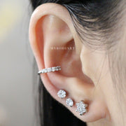Cute Silver Ear Piercing Ideas for Women Crystal Flower Earring Studs for Cartilage Earlobe Helix Conch - ideas lindas piercing del oído de la flor para las mujeres - www.MyBodiArt.com