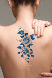 Cute Traditional Watercolor Blue Floral Flower Back Temporary Tattoo Ideas for Women -  Ideas de tatuaje de espalda de acuarela azul para mujeres - www.MyBodiArt.com