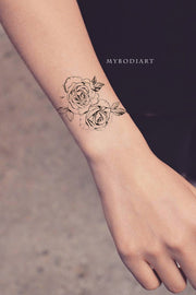 Cute Small Delicate Rose Floral Flower Outline Drawing Wrist Tattoo Ideas for Women - www.MyBodiArt.com #tattoos