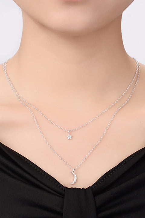 Cute Layered Star Moon Pendant Dainty Choker Necklace for Teens for Women -  collares lindos - www.MyBodiArt.com