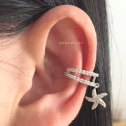 Cute Simple Minimalist Star Fish Dangle Crystal Ear Cuff Earring Fashion Jewelry for Cartilage, Helix, Conch Piercing -  lindas ideas para perforar orejas - www.MyBodiArt.com