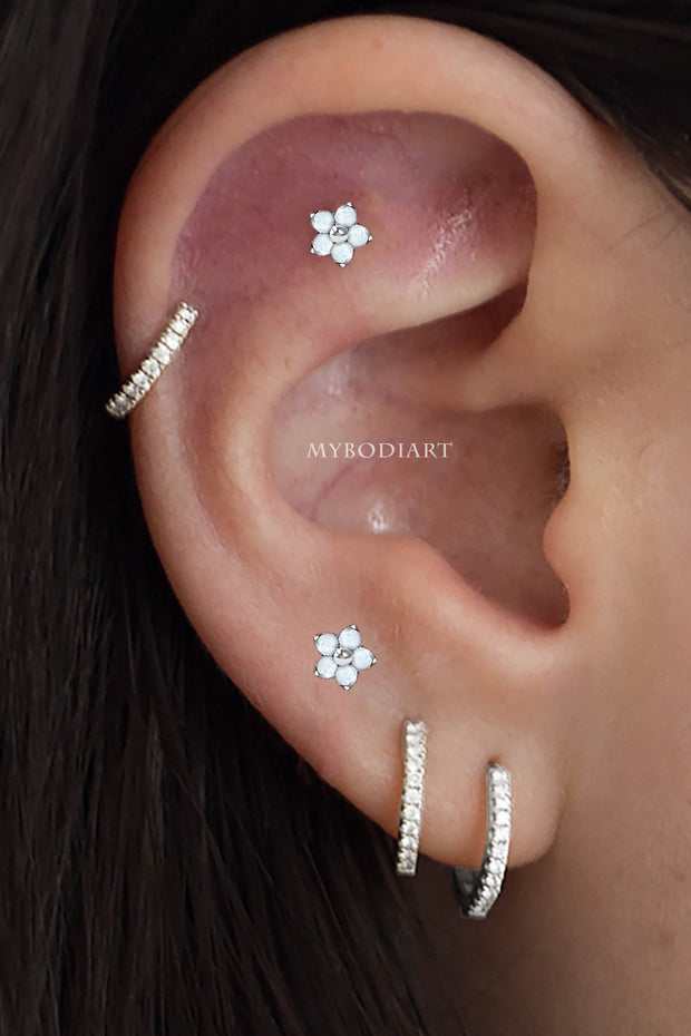 Cute Multiple Opal Flower Cartilage Helix Ear Piercing Jewelry Earring Stud Ideas for Women -  idées de bijoux piercing oreille - www.MyBodiArt.com #earrings