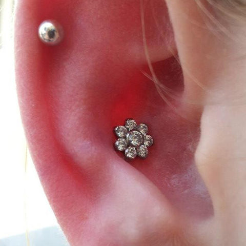 Cute Conch Ear Piercing Ideas Crystal Flower Jewelry Earring Studs -  lindas ideas para perforar orejas - www.MyBodiArt.com